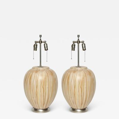 MidCentury Tan Drip Glazed Ceramic Lamps