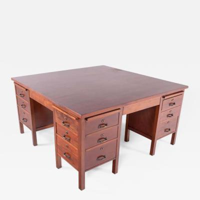 Midcentury African Teak Rare Portuguese Olaio Desk 1950s