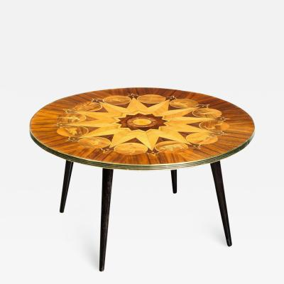 Midcentury Bookmatched Walnut Elm Cocktail Table with Zodiac Themed Marquetry