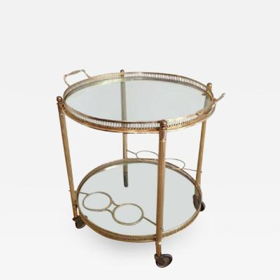 Midcentury Brass Rolling Serving Table with Removable Gallery Top