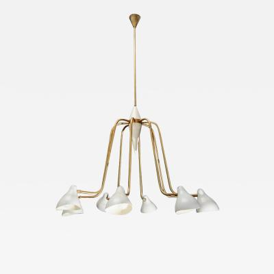 Midcentury Brass and Enameled Metal Height Arms Chandelier