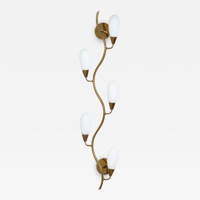 Midcentury Brass and Frosted Glass Shade Wall Light