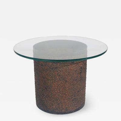 Midcentury Brutalist Modern Steel Drum and Glass Side Table After Paul Evans