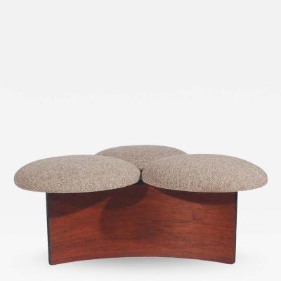 Midcentury Danish Modern Ottoman or Table in Walnut with 3 Circular Cushions