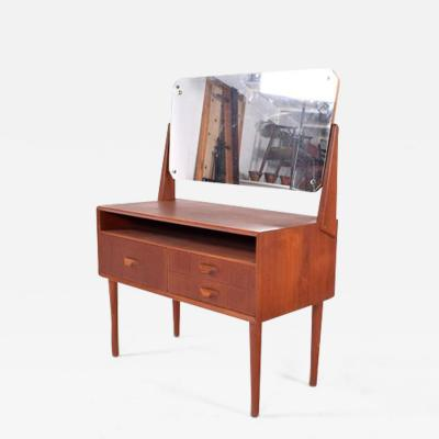 Midcentury Danish Teak Dressing Table with Mirror