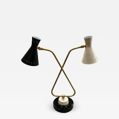 Midcentury Double Arms in Brass Table Lamp Italy 1950s