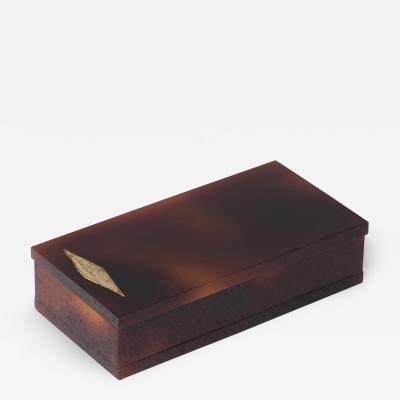 Midcentury Faux Tortoiseshell Lucite Box