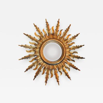 Midcentury French Double Layer Sunburst Mirror With Original Mirror Glass