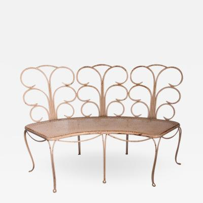 Midcentury French Wrought Iron Garden Bench Two Available