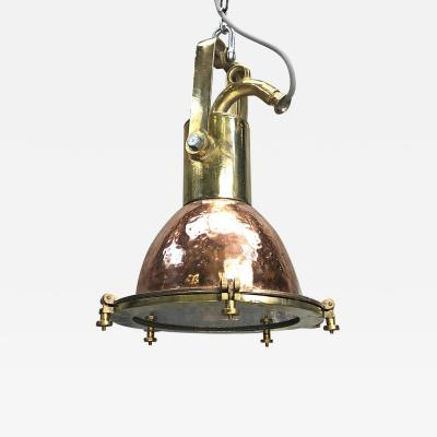 Midcentury German Copper Cast Brass and Glass Industrial Marine Pendant Light
