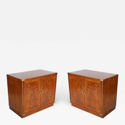 Midcentury Hollywood Regency Burl Wood Nightstands End Tables or Cabinets