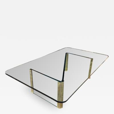 Midcentury Italian Coffee Table with Crystal Glass Top 1970s