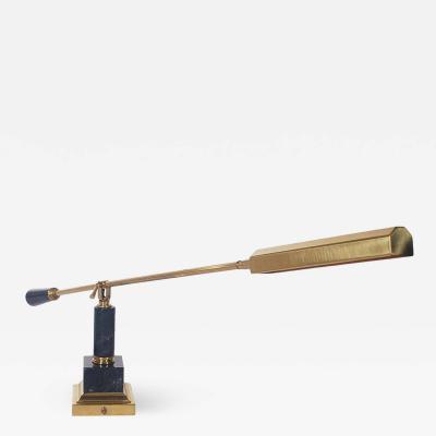 Midcentury Italian Modern Brass and Black Marble Desk or Table Lamp