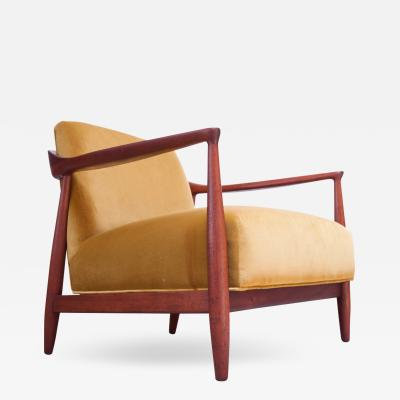 Midcentury Italian Modern Sculpted Walnut and Ochre Velvet Lounge Chair