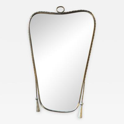 Midcentury Italian Wall Mirror with Brass Worked Frame circa 1950