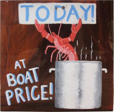 Midcentury Lobster for Sale Hand Painted Sign on Bronze Lucite 1960s 1970s