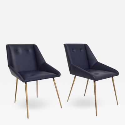 Midcentury Mexican Modernist Leather Chairs in Gio Ponti Style 1950s