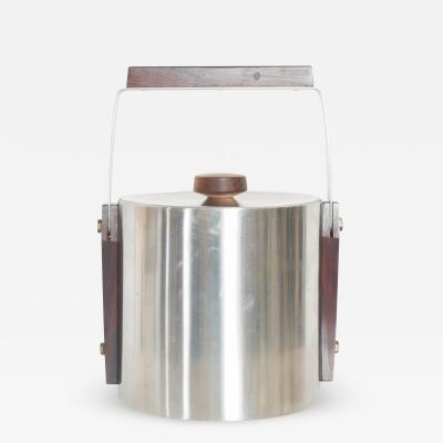 Midcentury Modern CULTURA Ice Bucket Stainless Steel w Walnut Wood Sweden 1960s