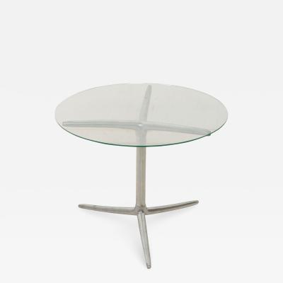 Midcentury Modern Low Profile Tripod Side Table in Aluminum