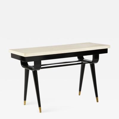 Midcentury Modern Parchment Top Console Table