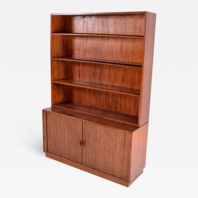 Midcentury Oak Danish Bookcase with Sliding Doors