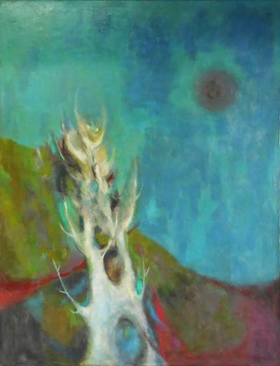 Midcentury Oil Painting Abstract Landscape 1965