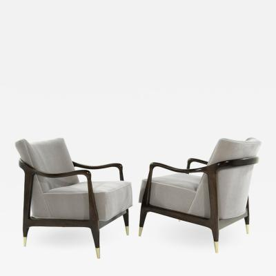 Midcentury Sculptural Gio Ponti Style Walnut Lounge Chairs 1950s