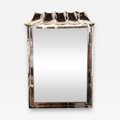 Midcentury Sculptural Pagoda Style Nickeled Illuminating Shadowbox Wall Mirror