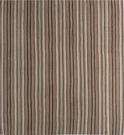 Midcentury Striped Persian Kilim Beige and Brown Rug