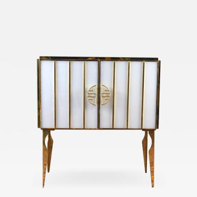 Midcentury Style Brass and Colored Murano Glass Bar Cabinet 2020
