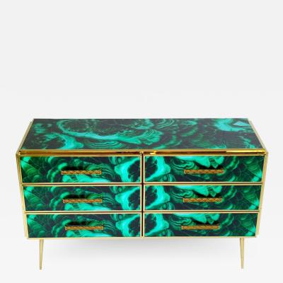 Midcentury Style Brass and Malachite Colored Murano Glass Commode 2020