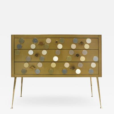 Midcentury Style Wood Colored Glass and Brass Italian Commode by L A Studio
