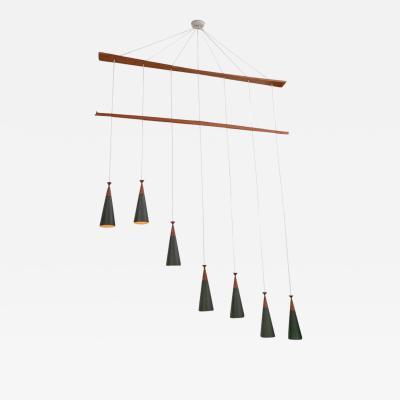 Midcentury Teak and Metal Seven Pendant Lighting Fixture Denmark 1960s