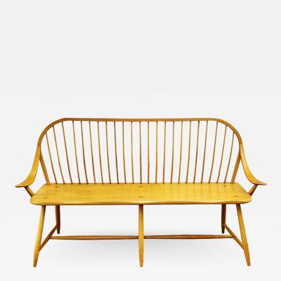 Midcentury Transitional Modern Spindle Back Bentwood Settee Bench in Maple