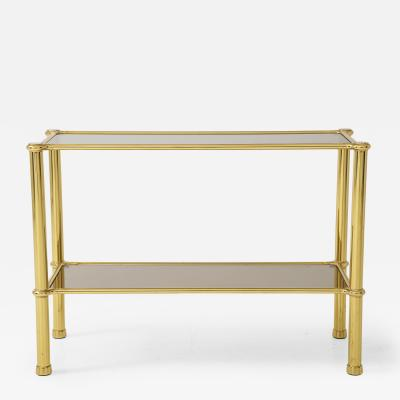 Midcentury Two Tiered Glass and Smoked Glass Console Table
