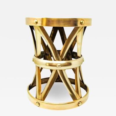 Midcentury Vintage Polished Brass Stool 1960s