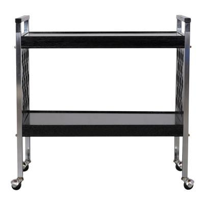 Middle Eastern Design Infused Black Chrome Bar Cart