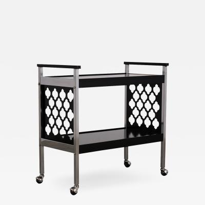Middle Eastern Design Infused Black Chrome Bar Cart