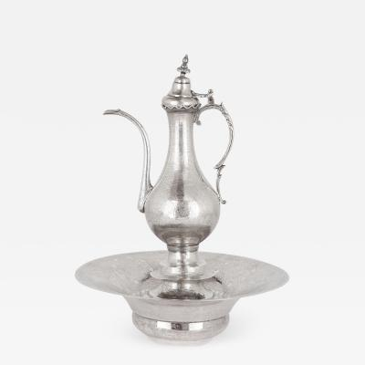Middle Eastern silver ewer and basin