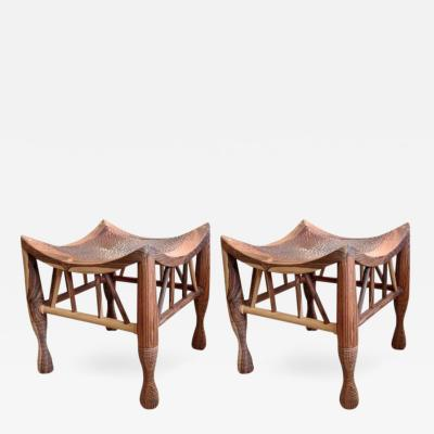Miguel Angel Arregui Pair of Artisan Crafted Wood and Hammered Copper Stools