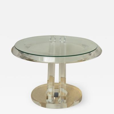 Mikhail Loznikov Glass and Lucite Side Table by Mikhail Liznokov