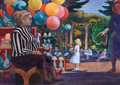 Millard Owen Sheets Balloon Woman at the Zoo