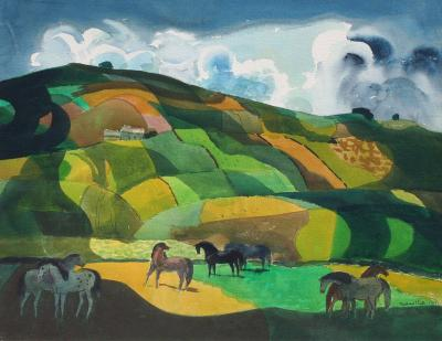 Millard Owen Sheets Landscape with Horses
