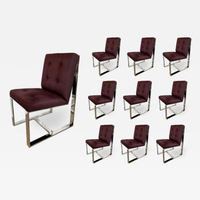 Milo Baughman 10 American Polished Stainless Upholstered Dining Chairs Milo Baughman