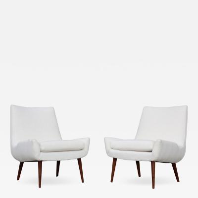 Milo Baughman 1960s Modernist Slipper Chairs