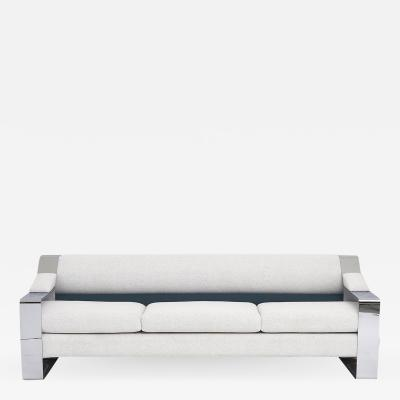 Milo Baughman 1970 s Chrome Sofa Extra Wide Flat Bar