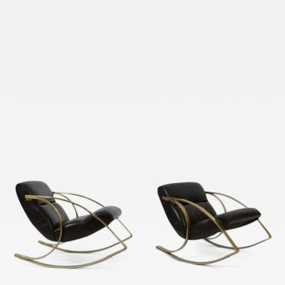 Milo Baughman 1970s Brass And Black Leather Rocker Chairs Milo Baughman  Style