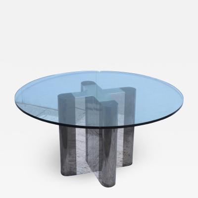 Milo Baughman 1970s Custom Made Chrome Dining Table With Glass Top