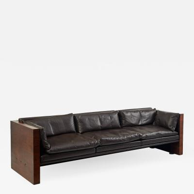 Milo Baughman 1970s Leather Rosewood Sofa in the Manner of Milo Baughman