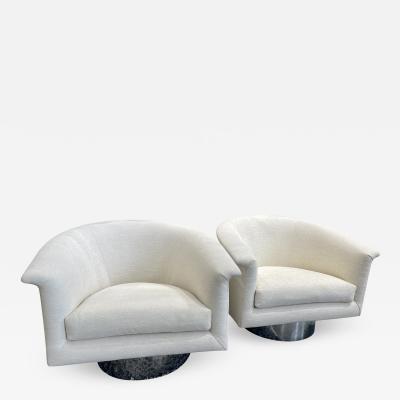 Milo Baughman 1970s Milo Baughman Swivel Chairs a Pair